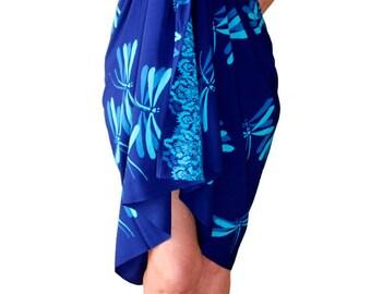 PLUS SIZE Sarong Blue Dragonfly - Batik Pareo Beach Sarong Wrap Extra Long Wrap Skirt or Dress Womens Plus Size Clothing Plus Size Swimwear