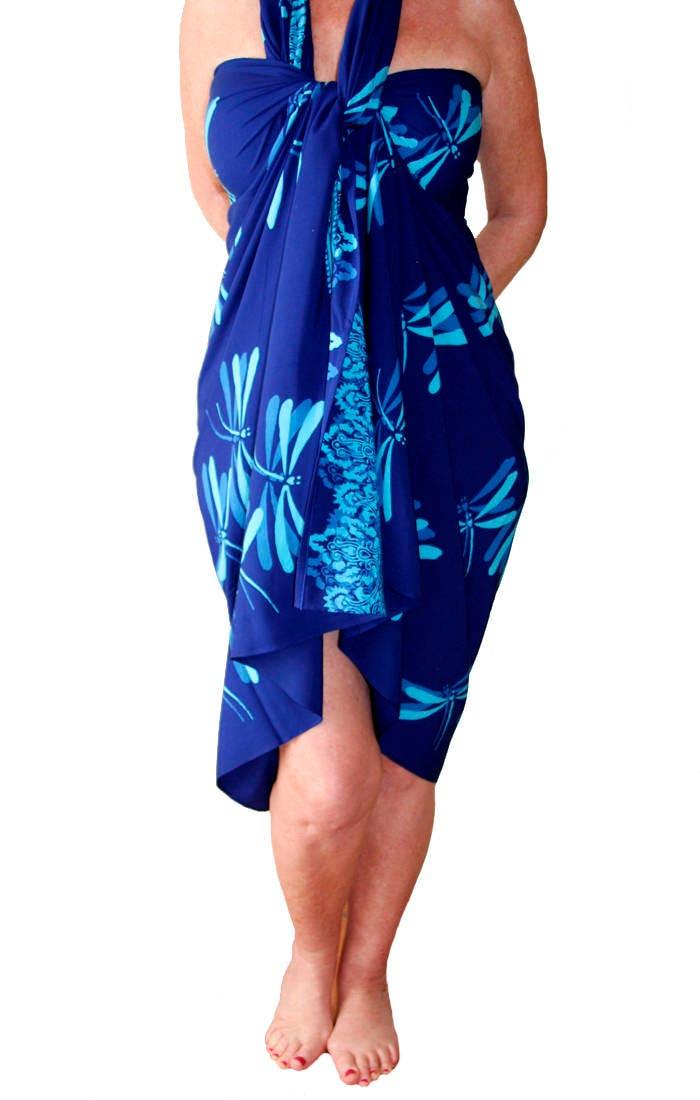 plus size sarong blue dragonfly batik pareo beach sarong