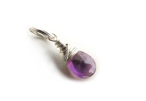 Amethyst Charm, February Birthstone, Amethyst Pendant, Gemstone Charm, Purple Birthstone Charm Gift (sterling silver)