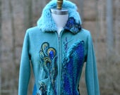 Peacock long sweater COAT, eco Fantasy fashion size M/L, Boho refashioned up cycled outerwear, Art to wear OOAK coat. Ready to ship