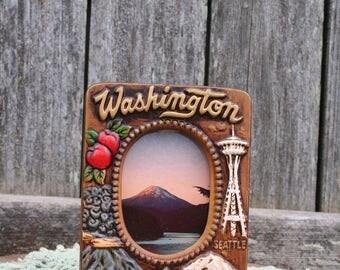 Awesome Vintage Washington State Ceramic Picture Tabletop/Desktop Frame
