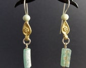 Brass and Sterling with Ancient Roman Glass Dangle Earrings