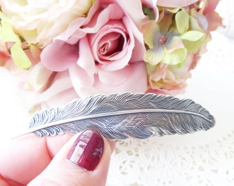 Ox Silver Feather Hair Barrette - Large Feather Hair Clip - French Feather Hair Barrette - Woodland Feather Barrette - Wedding Hair Clip