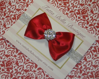 Red & Silver Headband, Baby Headband, Red Satin Bow Headband, Silver Glitter Headband, Toddler Headband, Newborn Headband, Christmas Bow