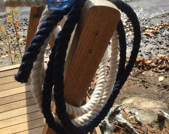 Tied the Knot Wedding Ceremony Rope - 5ft Navy Blue -  5ft Off White - Cream Rope -  Cotton Rope - Wedding Rope - Fisherman's Knot Rope