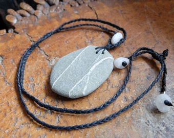 Granite beach stone necklace - natural stone jewelry handmade in Australia from found treasures - macrame necklace adjustable length
