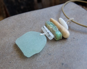 Sea glass, Quartz crystal, Chrysoprase, Fossil, Pebble necklace - pale green gem stone jewelry - natural organic jewellery