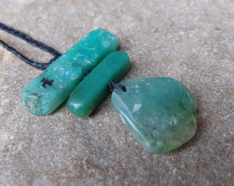 Unique Chrysoprase necklace on braided cord adjustable length. Green natural stone jewelry  - one of a kind, handmade in Australia