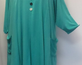 Plus Size Tunic Top, Coco and Juan, Lagenlook, Green, Turquoise, Traveler Knit Trapeze Tunic, Women's Tunic, Size 2 (fits 3X/4X) 60 inches