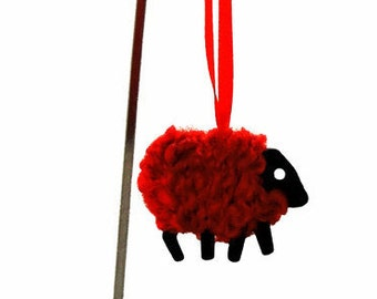 LizzyC Wee Sheep Christmas Decoration Holly
