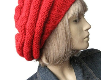 Red Hand Knit Hat, Beehive Beret, Womens Accessories, Red Knit Beret, Fall Fashion, Knit Vegan Hat