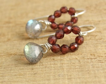 Earrings with Tiny, Garnet Beads and Labradorite Teardrops Wire Wrapped with Sterling Silver Wire HE-351
