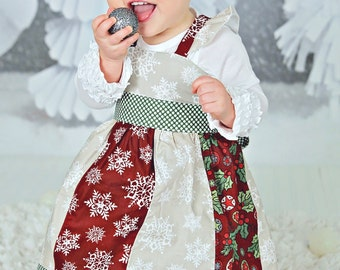 Baby's First Christmas - Baby Christmas Dress - Baby Holiday Dress - Infant Christmas Dress - Baby Girl Christmas Outfit Red Christmas Dress