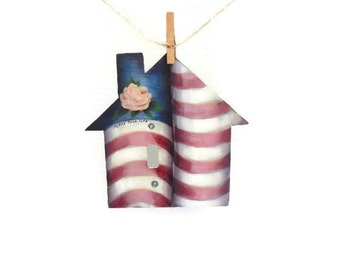 Hand Painted Flag Light Switch Cover | Peace Rose Flag Switch Cover