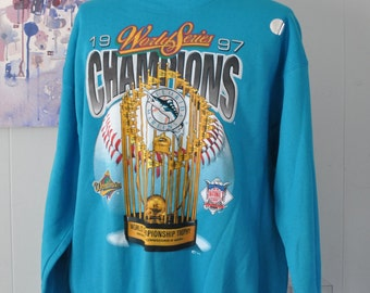 XXL 90s Vintage Sweatshirt Florida Marlins World Series Champions Aqua Teal Blue Fl by Pro Layer Mlb Baseball Florida