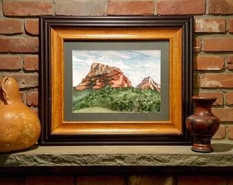 watercolor landscape print original watercolor painting Sedona Arizona American Southwest mountain painting, nature art, landscape print