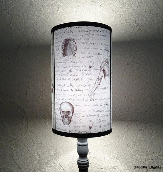 Jack's Anatomy blue Lamp Shade Lampshade - lighting, skull lamp, victorian gothique, goth decor, horror decor, medical,Jack the Ripper