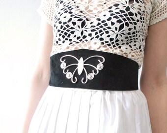 70s wide waist belt. black suede belt. corset belt. metal butterfly modernist belt. witchy belt - xs, small