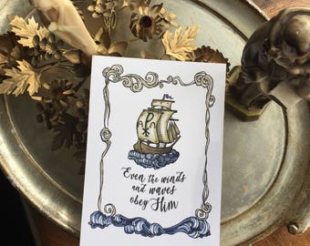 "Chi Rho Ship ""The Winds and the Waves Obey"" Jesus 5x7 Art Print"