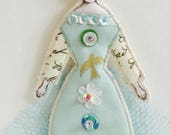 Little Blue Cupcake Flat Doll Ornament Handmade Modern Vintage Look Fabric Doll Decoration Embellished Textile Ornament