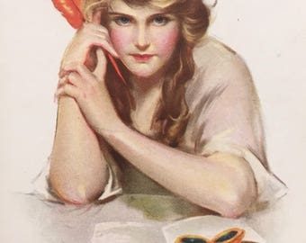 """Surly Girl, Empowered Authoress:  """"I've a Thought for You,"""" Vintage Postcard"""