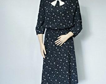 1980's Dress Vintage Bow Dress Black Floral Gathered Skirt Size 11/12