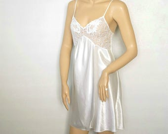 Val Mode Vintage Baby Doll Nightgown White Lace Nightie Size Small