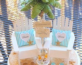 """Beach Wedding Cake Topper Base Attached Beach Sign/Honeymoon Coronas/Chairs/Palm Tree Handmade To Order Your Colors for 5"""" cake top"""