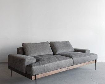 Rivera Sofa, Walnut and Steel Base, Down Cushions