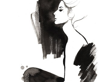 Crooked Nose, print from original watercolor and pen fashion illustration by Jessica Durrant