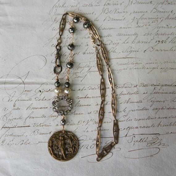 Antique Assemblage Vintage Revival Necklace with Art Nouveau Fairy Button, Rhinestones, Pyrite and Antique Pocket Watch Chain