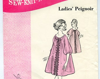 Vintage 60s Sew-Knit-N-Stretch Ladies Peignoir or Negligee UNCUT Sewing Pattern 215 Small Medium Large