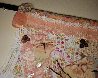 Spring Textile Art - Wall hanging, collage, wall art
