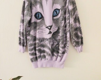 80's All Over Print Cat Sweatshirt