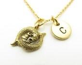 Pisces Necklace, Fish Charm Necklace, Zodiac Necklace, Pisces Pendant, Initial Necklace, Monogram, Personalized Gift, Antique Gold, Z396