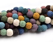 Lava  Beads,  10mm, 15 inch  Strand,  Natural Beads, Mixed Colors -C635