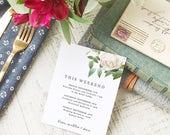 Wedding Agenda Card, Printable Wedding Timeline Letter, Events Card, Ivory Botanical, Itinerary, Agenda, Hotel Card - INSTANT DOWNLOAD