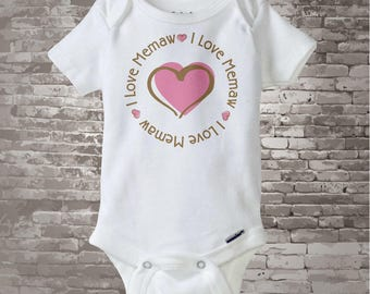 Girl's Personalized I Love Memaw Shirt or Onesie with Pink Heart 04022014d