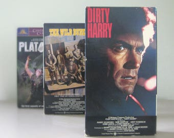 Dirty Harry, Platoon, The Wild Bunch - Father's Day Gift, Classic Dad Movies on VHS Tape, Clint Eastwood, Charlie Sheen, William Holden