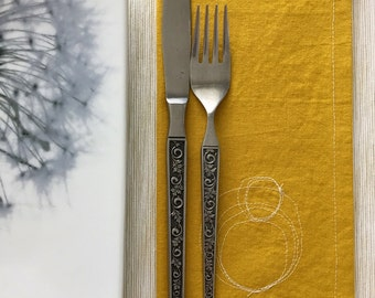 Cotton Napkins / Reusable Fabric Napkins / Mustard Yellow Cloth Napkins with Circle Scribbles