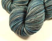 Hand Dyed Yarn - Sock Weight Superwash Merino Wool Yarn - Storm Clouds - Knitting Yarn, Sock Yarn, Fingering Yarn, Blue Grey Gray