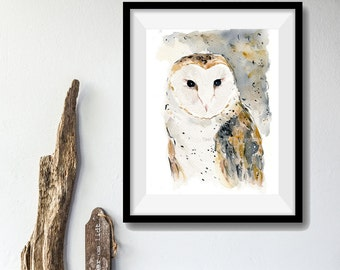 Barn Owl art print, watercolor barn owl print, wild life art, birds art print, brown, Nature art, woodland art, Halloween