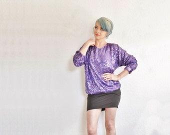 royal purple sequin sparkle blouse . long sleeve unicorn club top .medium.large .sale