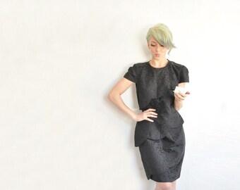 tiered scalloped little black dress . brocade tapestry layer mini dress .small.medium