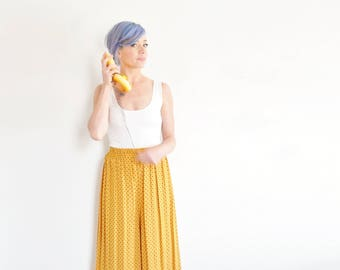 they're my gaucho pants . mustard yellow polka dot high waist midi trousers .small.medium .disaster relief