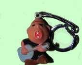Vintage 50s 60s Key Ring , Rock and Roll Guitar Player Key Ring , Weirdo Figurine - on sale