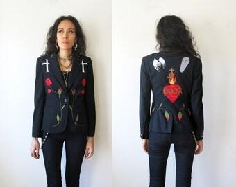 Nick Cave Jacket / Sacred Heart and Roses / Applique Black Blazer Sz 2 S