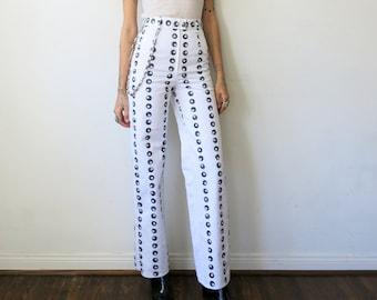 Tati Compton X Rusty Cuts 8 Ball Pants / High Waisted White Pants Sz XS S M L