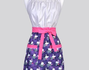 Cute Kitsch Womens Apron / Purple and Gray Swans and Pink Water Lilies Feminine Vintage Style Kitchen Cooking Apron with Pockets