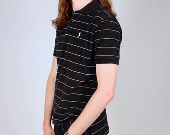 Vintage Polo Black and White Striped Shirt